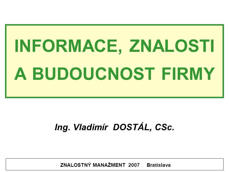 INFORMACE, ZNALOSTI A BUDOUCNOST FIRMY ZNALOSTNÝ MANAŽMENT 2007 Bratislava Ing.