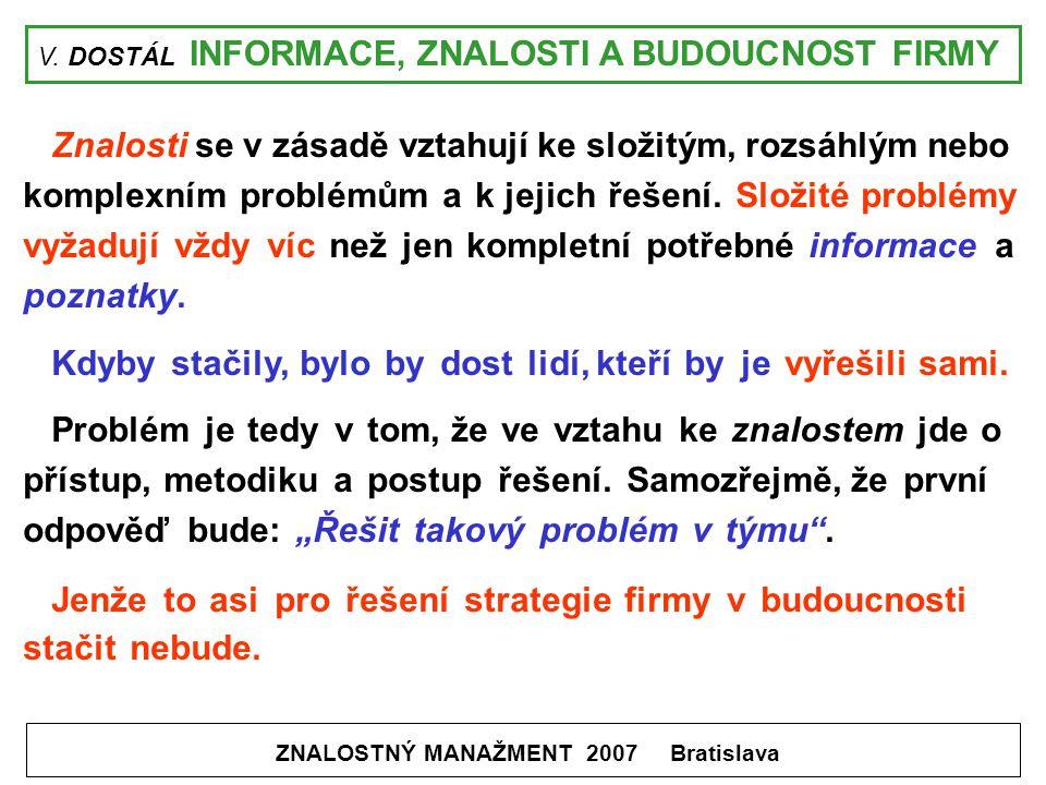 V. DOSTÁL INFORMACE, ZNALOSTI A BUDOUCNOST FIRMY ZNALOSTNÝ MANAŽMENT 2007 Bratislava Znalosti se v zásadě vztahují ke složitým, rozsáhlým nebo komplex