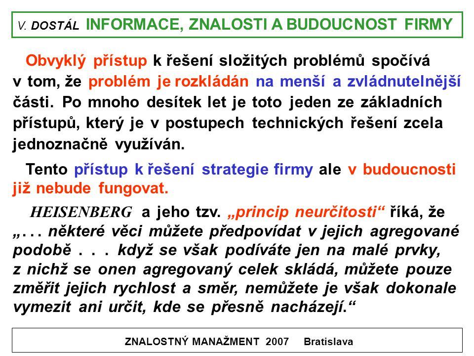 V. DOSTÁL INFORMACE, ZNALOSTI A BUDOUCNOST FIRMY ZNALOSTNÝ MANAŽMENT 2007 Bratislava Obvyklý přístup k řešení složitých problémů spočívá v tom, že pro