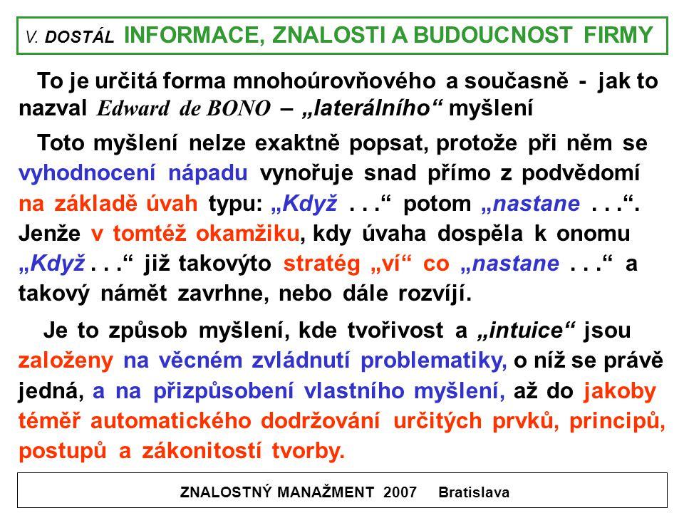 V. DOSTÁL INFORMACE, ZNALOSTI A BUDOUCNOST FIRMY ZNALOSTNÝ MANAŽMENT 2007 Bratislava To je určitá forma mnohoúrovňového a současně - jak to nazval Edw