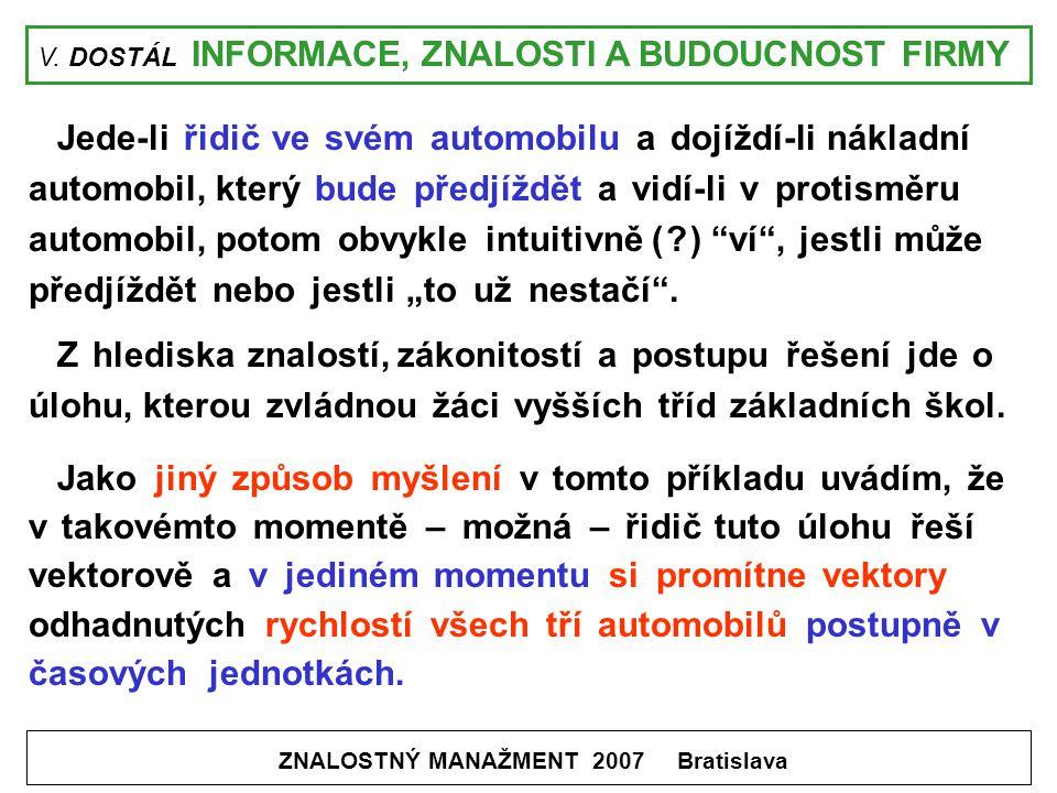 V. DOSTÁL INFORMACE, ZNALOSTI A BUDOUCNOST FIRMY ZNALOSTNÝ MANAŽMENT 2007 Bratislava Jede-li řidič ve svém automobilu a dojíždí-li nákladní automobil,