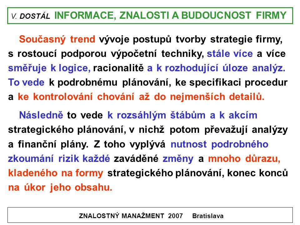 V. DOSTÁL INFORMACE, ZNALOSTI A BUDOUCNOST FIRMY ZNALOSTNÝ MANAŽMENT 2007 Bratislava Současný trend vývoje postupů tvorby strategie firmy, s rostoucí