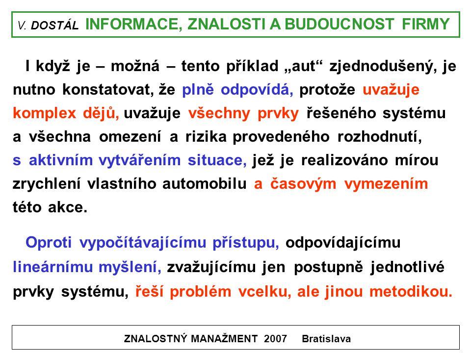 """V. DOSTÁL INFORMACE, ZNALOSTI A BUDOUCNOST FIRMY ZNALOSTNÝ MANAŽMENT 2007 Bratislava I když je – možná – tento příklad """"aut"""" zjednodušený, je nutno ko"""