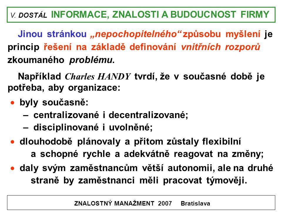 """V. DOSTÁL INFORMACE, ZNALOSTI A BUDOUCNOST FIRMY ZNALOSTNÝ MANAŽMENT 2007 Bratislava Jinou stránkou """"nepochopitelného"""" způsobu myšlení je princip řeše"""