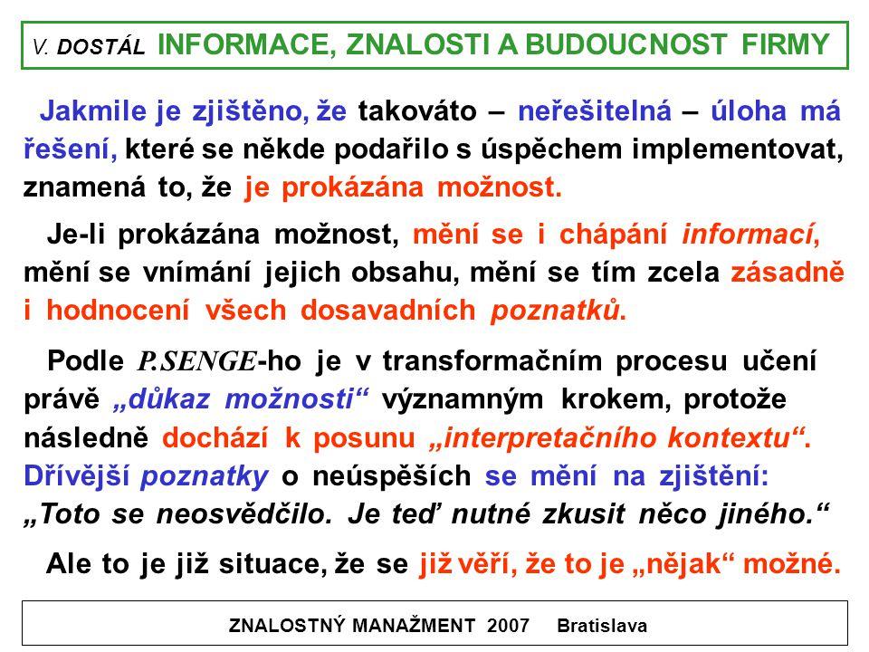 V. DOSTÁL INFORMACE, ZNALOSTI A BUDOUCNOST FIRMY ZNALOSTNÝ MANAŽMENT 2007 Bratislava Jakmile je zjištěno, že takováto – neřešitelná – úloha má řešení,