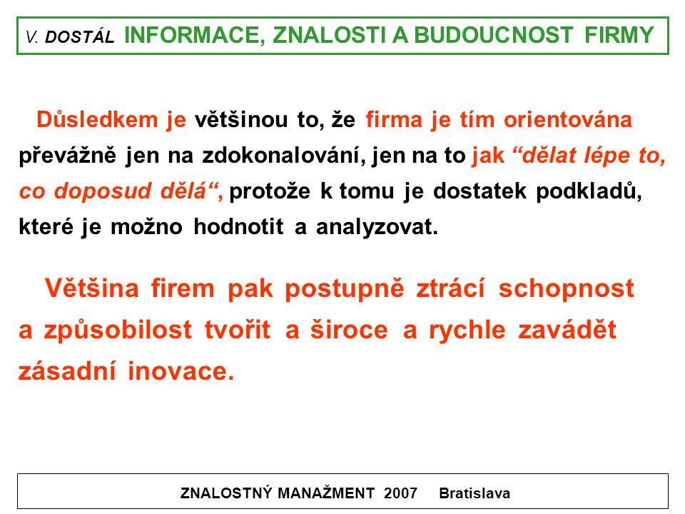 V. DOSTÁL INFORMACE, ZNALOSTI A BUDOUCNOST FIRMY ZNALOSTNÝ MANAŽMENT 2007 Bratislava Důsledkem je většinou to, že firma je tím orientována převážně je