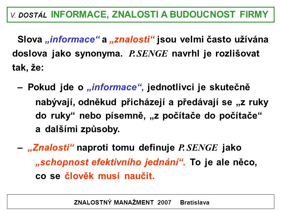 """V. DOSTÁL INFORMACE, ZNALOSTI A BUDOUCNOST FIRMY ZNALOSTNÝ MANAŽMENT 2007 Bratislava Slova """"informace"""" a """"znalosti"""" jsou velmi často užívána doslova j"""