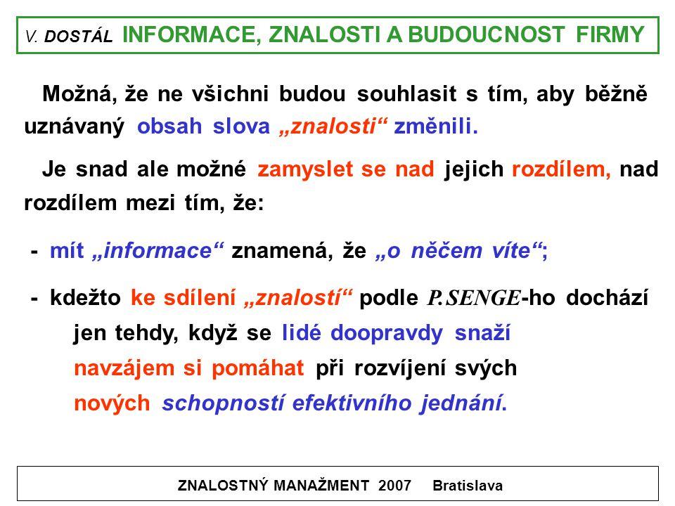 V. DOSTÁL INFORMACE, ZNALOSTI A BUDOUCNOST FIRMY ZNALOSTNÝ MANAŽMENT 2007 Bratislava Možná, že ne všichni budou souhlasit s tím, aby běžně uznávaný ob