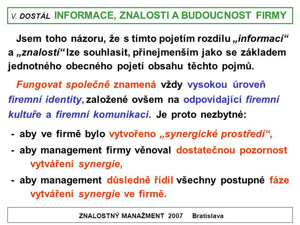 """V. DOSTÁL INFORMACE, ZNALOSTI A BUDOUCNOST FIRMY ZNALOSTNÝ MANAŽMENT 2007 Bratislava Jsem toho názoru, že s tímto pojetím rozdílu """"informací"""" a """"znalo"""