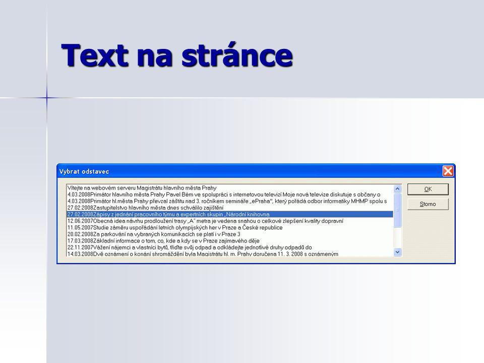 Text na stránce