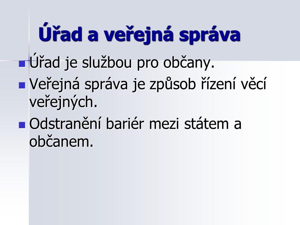 Úřad a veřejná správa Úřad je službou pro občany. Úřad je službou pro občany.