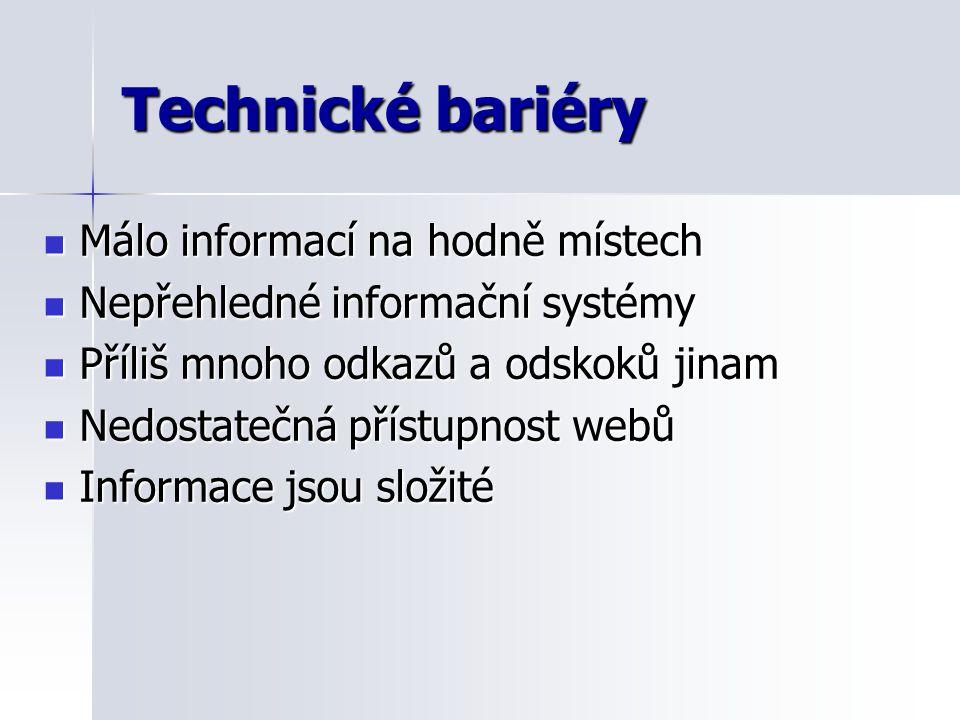 Technické bariéry Málo informací na hodně místech Málo informací na hodně místech Nepřehledné informační systémy Nepřehledné informační systémy Příliš mnoho odkazů a odskoků jinam Příliš mnoho odkazů a odskoků jinam Nedostatečná přístupnost webů Nedostatečná přístupnost webů Informace jsou složité Informace jsou složité