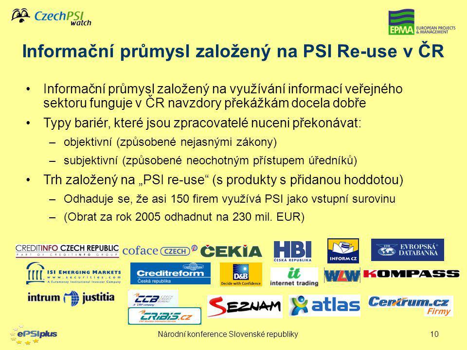 Národní konference Slovenské republiky10 Informační průmysl založený na využívání informací veřejného sektoru funguje v ČR navzdory překážkám docela d