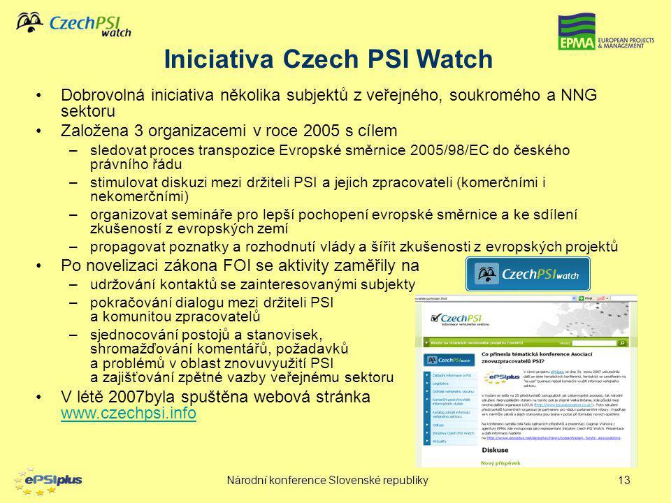 Národní konference Slovenské republiky13 Iniciativa Czech PSI Watch Dobrovolná iniciativa několika subjektů z veřejného, soukromého a NNG sektoru Zalo
