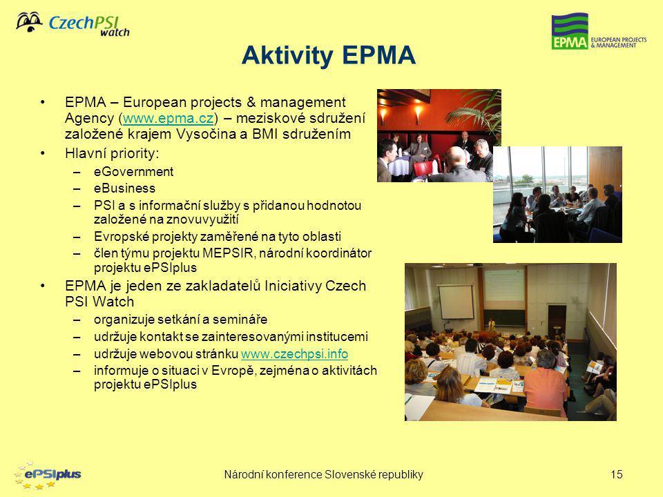 Národní konference Slovenské republiky15 EPMA – European projects & management Agency (www.epma.cz) – meziskové sdružení založené krajem Vysočina a BM