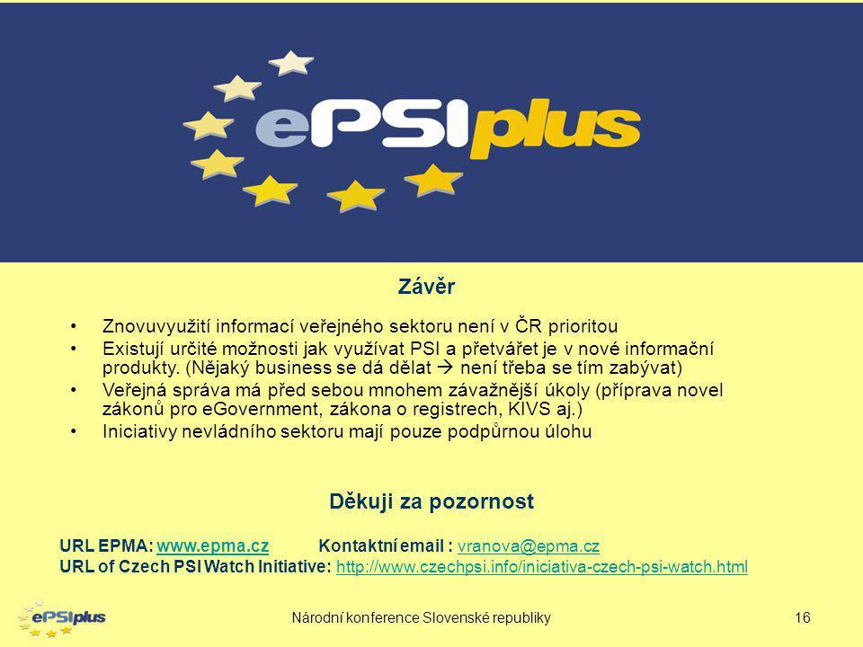 Národní konference Slovenské republiky16 URL EPMA: www.epma.cz Kontaktní email : vranova@epma.czwww.epma.czvranova@epma.cz URL of Czech PSI Watch Init