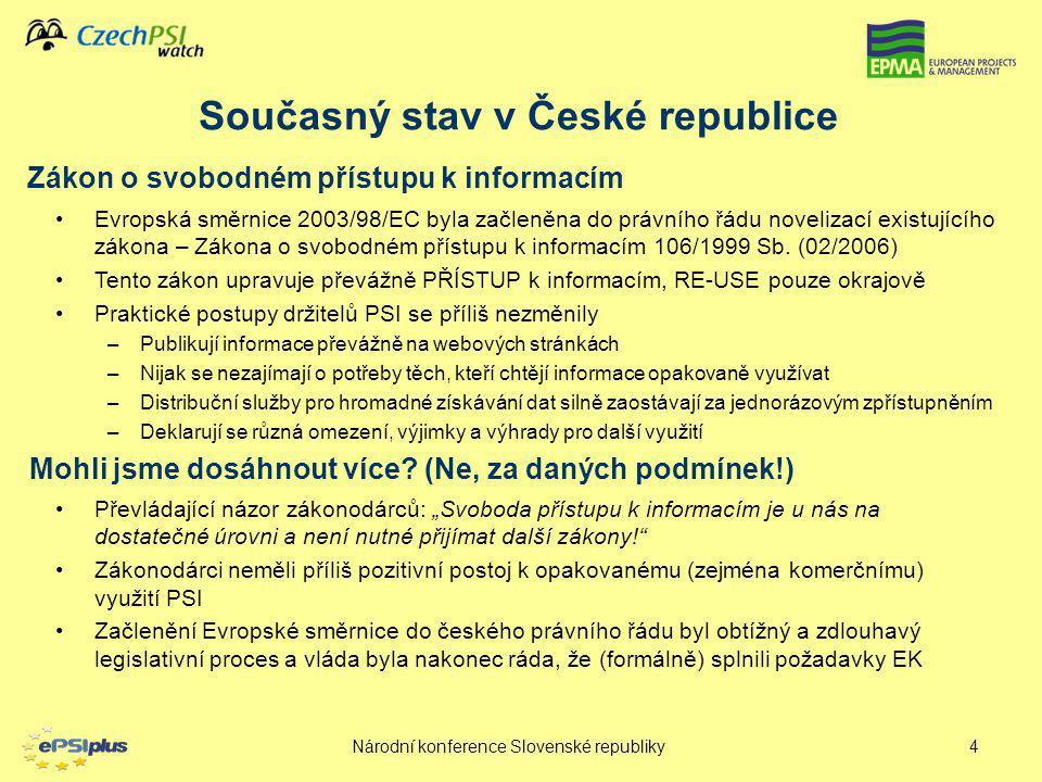 Národní konference Slovenské republiky5 Novelizace FOI – Pro  –Základní demokratické právo bylo formulováno i s ohledem na jejich znovuvyužití, i když pouze v obecné podobě –Česká republika formálně transponovala Evropskou směrnici –Tím se vyhnula hrozící sankci ze strany EK Novelizace FOI – Proti –Přístup k informacím stále převládá nad opakovaným využitím –Právo občana na jednorázové získání informace má větší váhu než právo dalšího subjektu (podnikatele) na opakované získávání pro jiné (komerční účely) –Nejsou stanovena pravidla pro právo na opakovaný přístup k informacím a jejich hromadné zpracování –Nejsou stanoveny licence, cenová politika je definována pouze obecně a neurčitě Pro a Proti novelizovaného zákona
