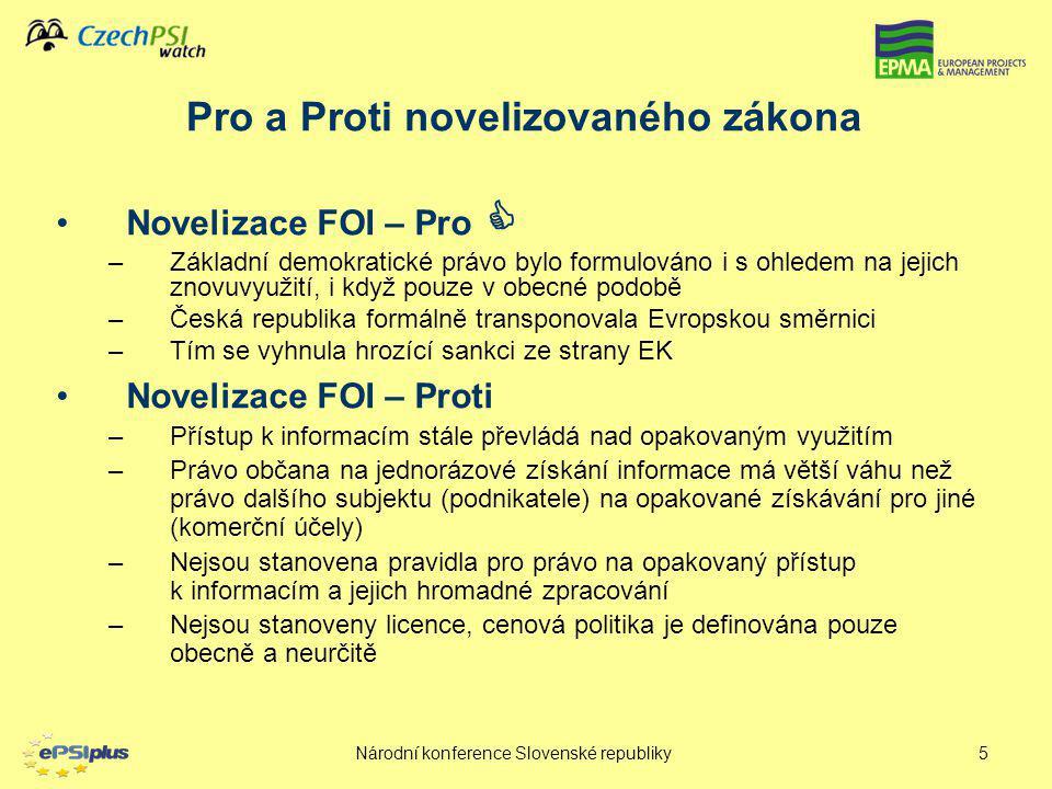 Národní konference Slovenské republiky5 Novelizace FOI – Pro  –Základní demokratické právo bylo formulováno i s ohledem na jejich znovuvyužití, i kdy