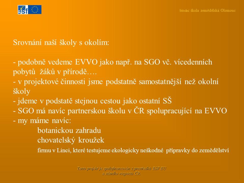 Střední škola zemědělská Olomouc Tento projekt je spolufinancován z prostředků ESF EU a státního rozpočtu ČR. Srovnání naší školy s okolím: - podobně