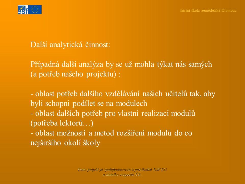 Střední škola zemědělská Olomouc Tento projekt je spolufinancován z prostředků ESF EU a státního rozpočtu ČR. Další analytická činnost: Případná další