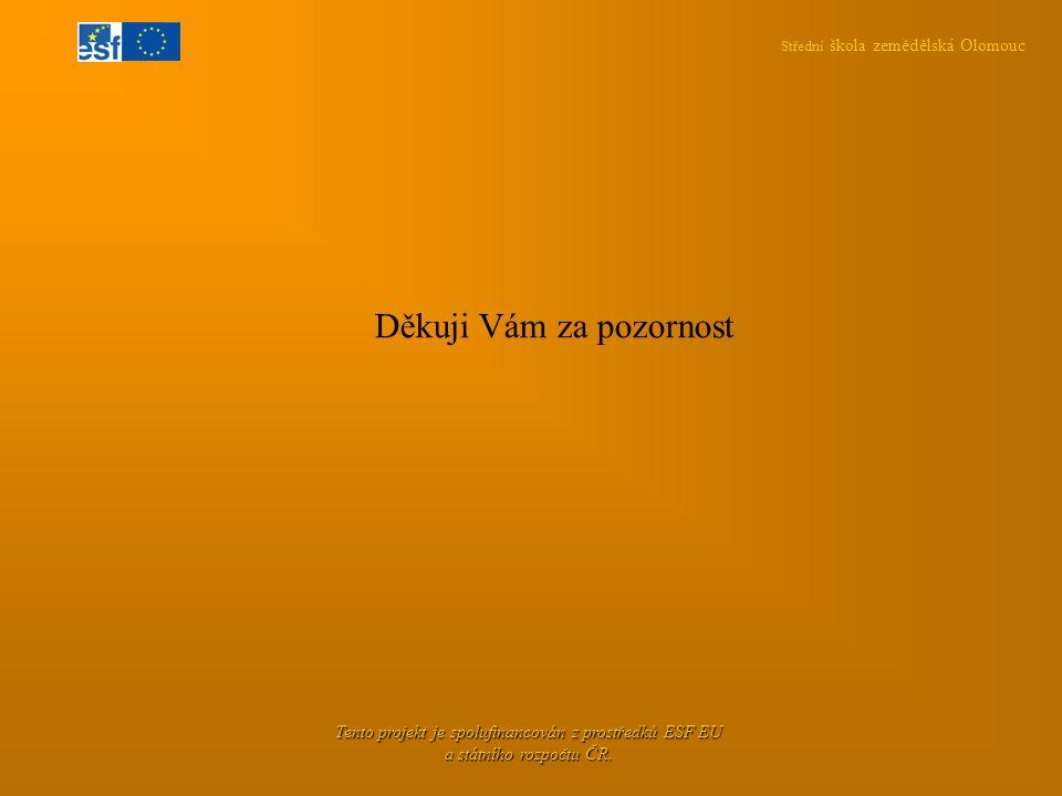 Střední škola zemědělská Olomouc Tento projekt je spolufinancován z prostředků ESF EU a státního rozpočtu ČR. Děkuji Vám za pozornost