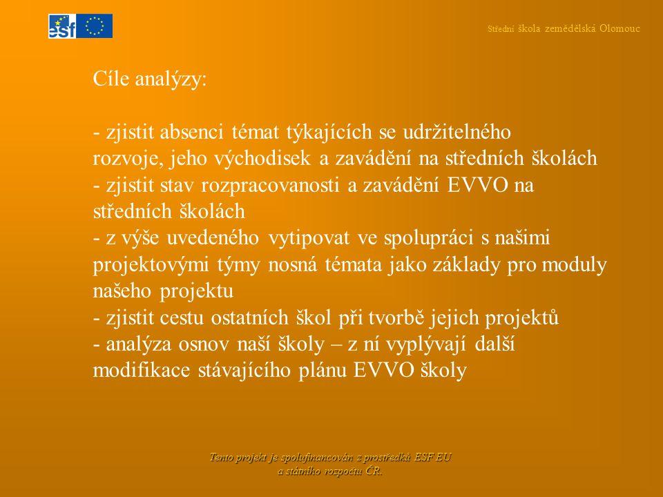 Střední škola zemědělská Olomouc Tento projekt je spolufinancován z prostředků ESF EU a státního rozpočtu ČR. Cíle analýzy: - zjistit absenci témat tý