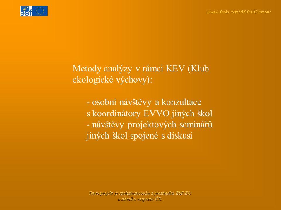 Střední škola zemědělská Olomouc Tento projekt je spolufinancován z prostředků ESF EU a státního rozpočtu ČR. Metody analýzy v rámci KEV (Klub ekologi