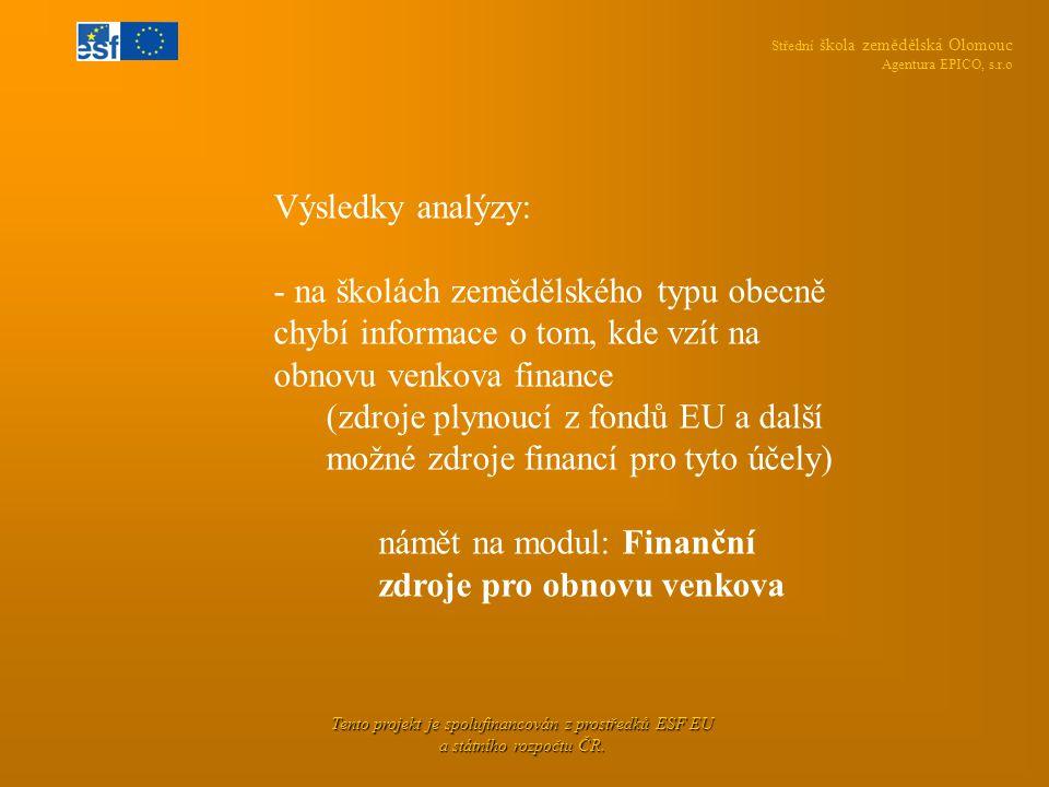 Střední škola zemědělská Olomouc Agentura EPICO, s.r.o Tento projekt je spolufinancován z prostředků ESF EU a státního rozpočtu ČR. Výsledky analýzy: