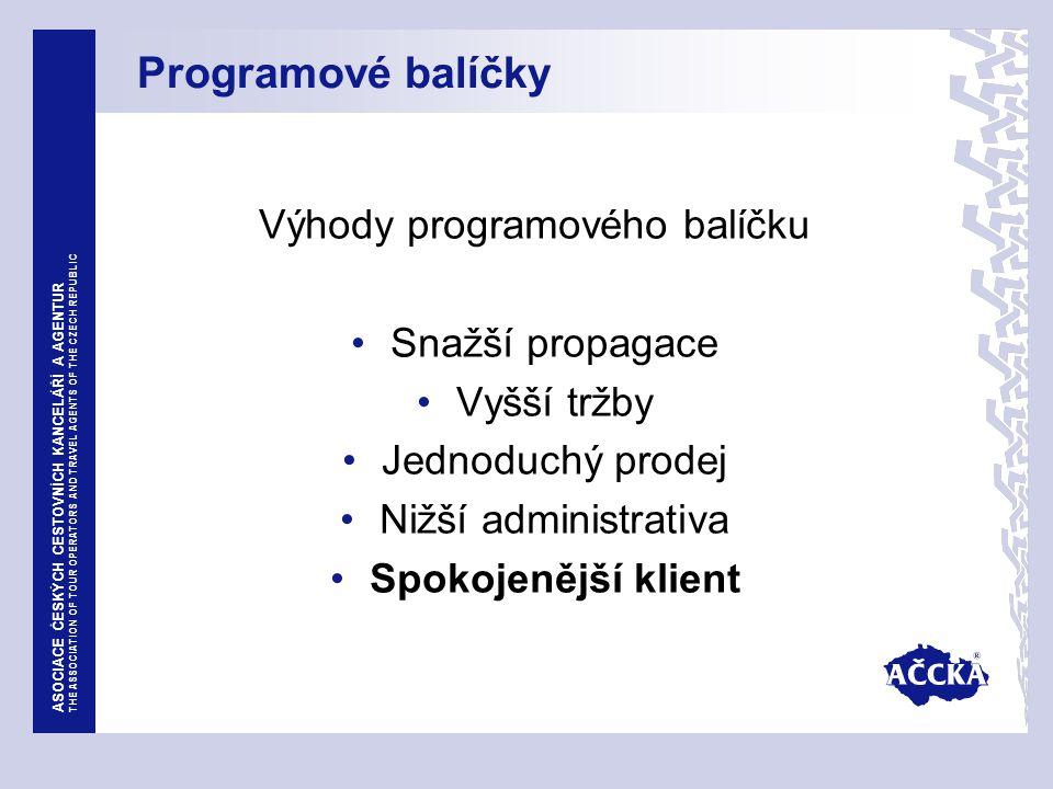 ASOCIACE ČESKÝCH CESTOVNÍCH KANCELÁŘÍ A AGENTUR THE ASSOCIATION OF TOUR OPERATORS AND TRAVEL AGENTS OF THE CZECH REPUBLIC Programové balíčky Výhody programového balíčku Snažší propagace Vyšší tržby Jednoduchý prodej Nižší administrativa Spokojenější klient