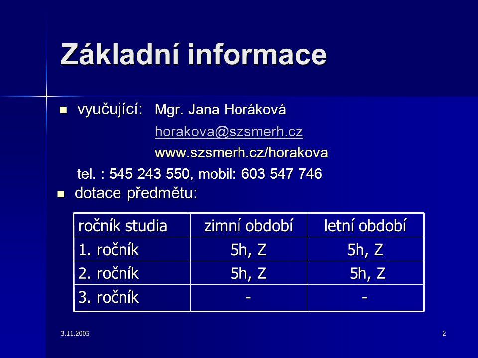 3.11.20052 Základní informace vyučující: Mgr. Jana Horáková vyučující: Mgr. Jana Horáková horakova@szsmerh.cz www.szsmerh.cz/horakova tel. : 545 243 5