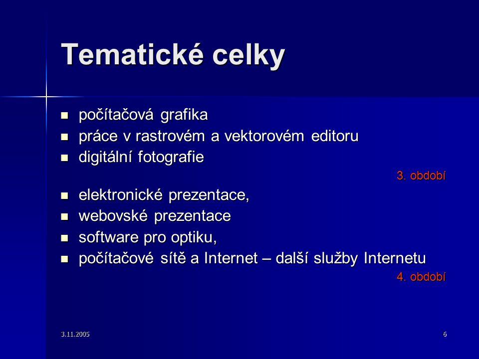 3.11.20056 Tematické celky počítačová grafika počítačová grafika práce v rastrovém a vektorovém editoru práce v rastrovém a vektorovém editoru digitální fotografie digitální fotografie 3.