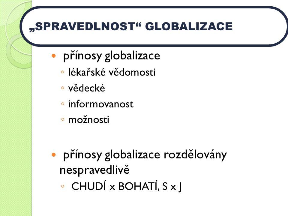 """přínosy globalizace ◦ lékařské vědomosti ◦ vědecké ◦ informovanost ◦ možnosti přínosy globalizace rozdělovány nespravedlivě ◦ CHUDÍ x BOHATÍ, S x J """"SPRAVEDLNOST GLOBALIZACE"""