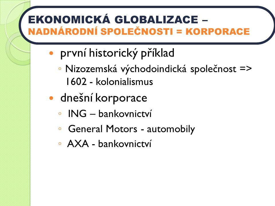 první historický příklad ◦ Nizozemská východoindická společnost => 1602 - kolonialismus dnešní korporace ◦ ING – bankovnictví ◦ General Motors - automobily ◦ AXA - bankovnictví EKONOMICKÁ GLOBALIZACE – NADNÁRODNÍ SPOLEČNOSTI = KORPORACE