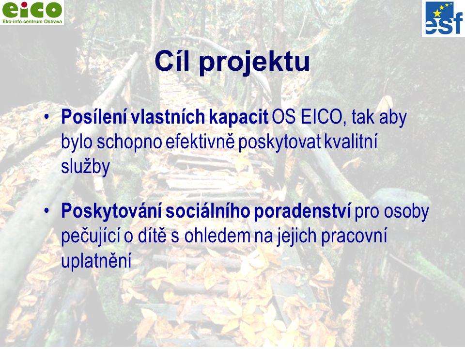 4 Cíl projektu Posílení vlastních kapacit OS EICO, tak aby bylo schopno efektivně poskytovat kvalitní služby Poskytování sociálního poradenství pro osoby pečující o dítě s ohledem na jejich pracovní uplatnění