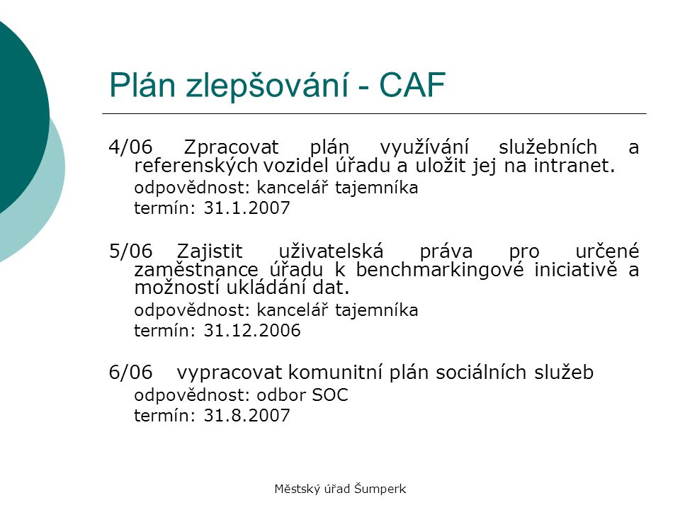 Městský úřad Šumperk Plán zlepšování - CAF 4/06 Zpracovat plán využívání služebních a referenských vozidel úřadu a uložit jej na intranet. odpovědnost
