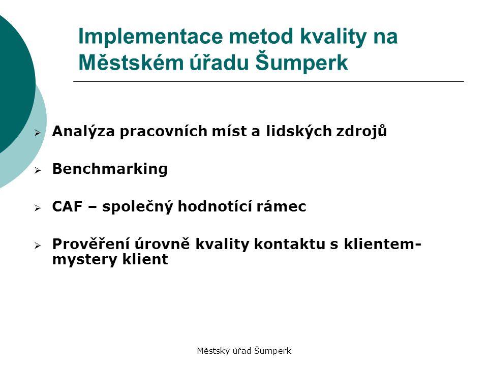 Městský úřad Šumperk Implementace metod kvality na Městském úřadu Šumperk  Analýza pracovních míst a lidských zdrojů  Benchmarking  CAF – společný