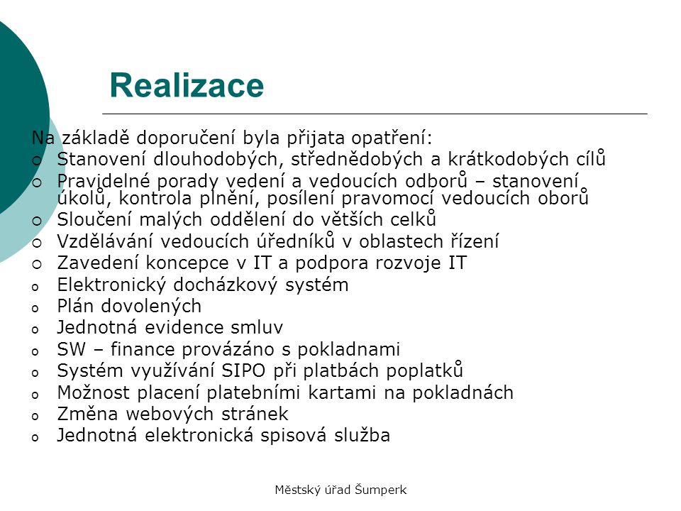 Městský úřad Šumperk Realizace Na základě doporučení byla přijata opatření:  Stanovení dlouhodobých, střednědobých a krátkodobých cílů  Pravidelné p