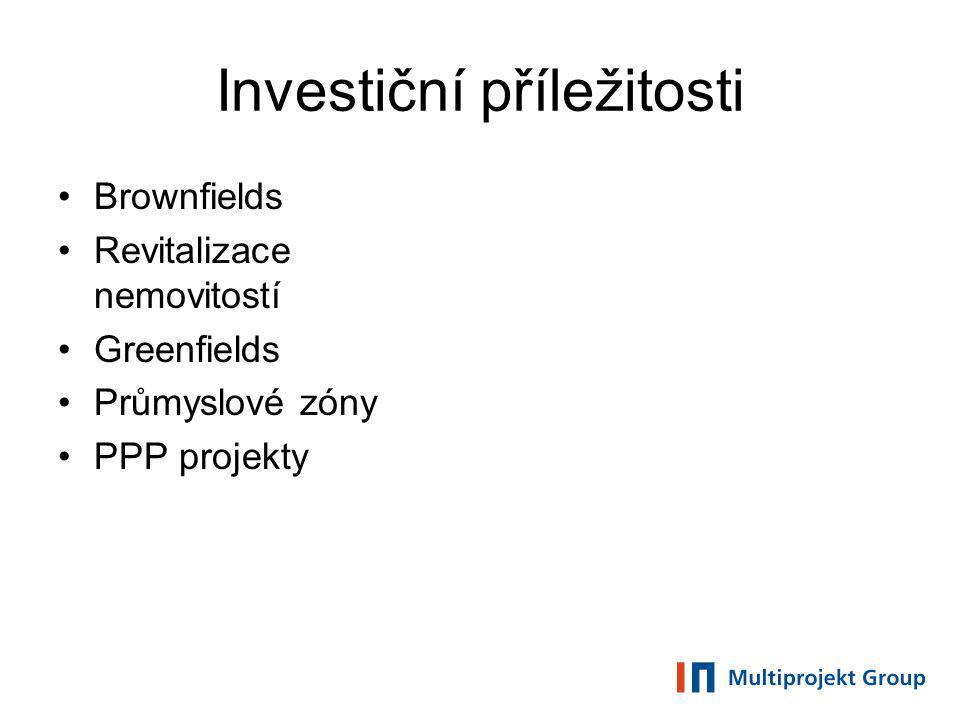 Investiční příležitosti Brownfields Revitalizace nemovitostí Greenfields Průmyslové zóny PPP projekty