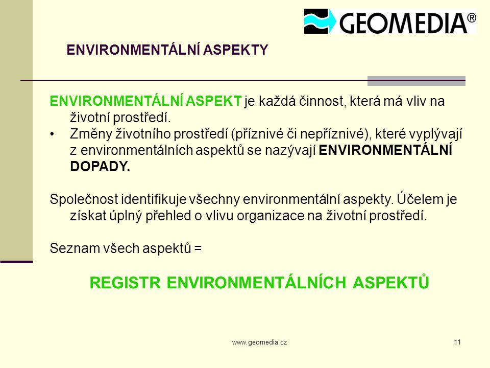 www.geomedia.cz11 ENVIRONMENTÁLNÍ ASPEKTY ENVIRONMENTÁLNÍ ASPEKT je každá činnost, která má vliv na životní prostředí. Změny životního prostředí (příz