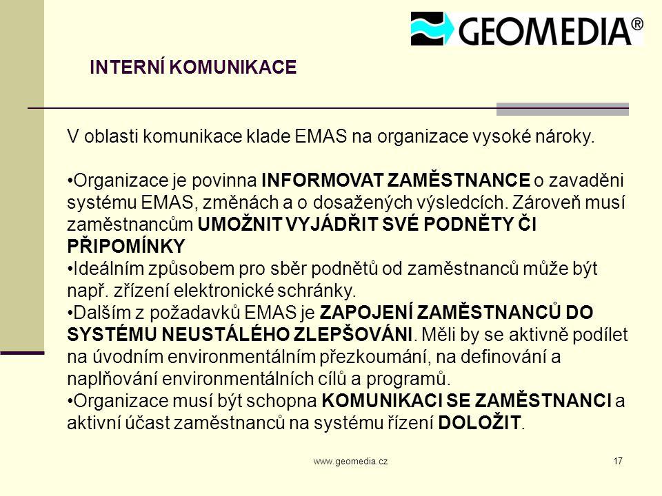 www.geomedia.cz17 INTERNÍ KOMUNIKACE V oblasti komunikace klade EMAS na organizace vysoké nároky. Organizace je povinna INFORMOVAT ZAMĚSTNANCE o zavad