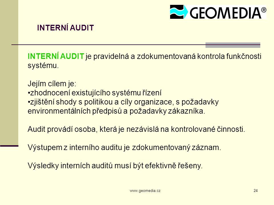 www.geomedia.cz24 INTERNÍ AUDIT INTERNÍ AUDIT je pravidelná a zdokumentovaná kontrola funkčnosti systému. Jejím cílem je: zhodnocení existujícího syst