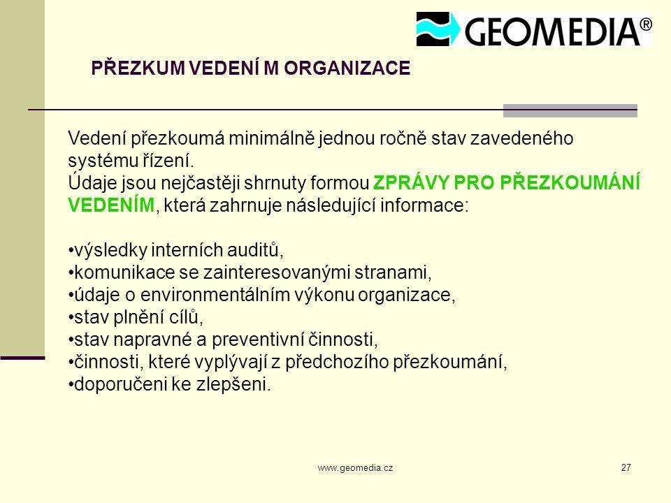 www.geomedia.cz27 PŘEZKUM VEDENÍ M ORGANIZACE Vedení přezkoumá minimálně jednou ročně stav zavedeného systému řízení. Údaje jsou nejčastěji shrnuty fo