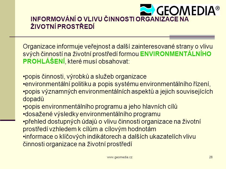 www.geomedia.cz28 INFORMOVÁNÍ O VLIVU ČINNOSTI ORGANIZACE NA ŽIVOTNÍ PROSTŘEDÍ Organizace informuje veřejnost a další zainteresované strany o vlivu sv
