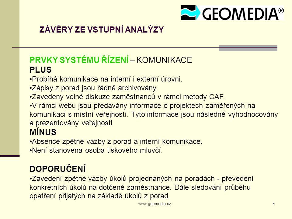 www.geomedia.cz9 ZÁVĚRY ZE VSTUPNÍ ANALÝZY PRVKY SYSTÉMU ŘÍZENÍ – KOMUNIKACE PLUS Probíhá komunikace na interní i externí úrovni. Zápisy z porad jsou