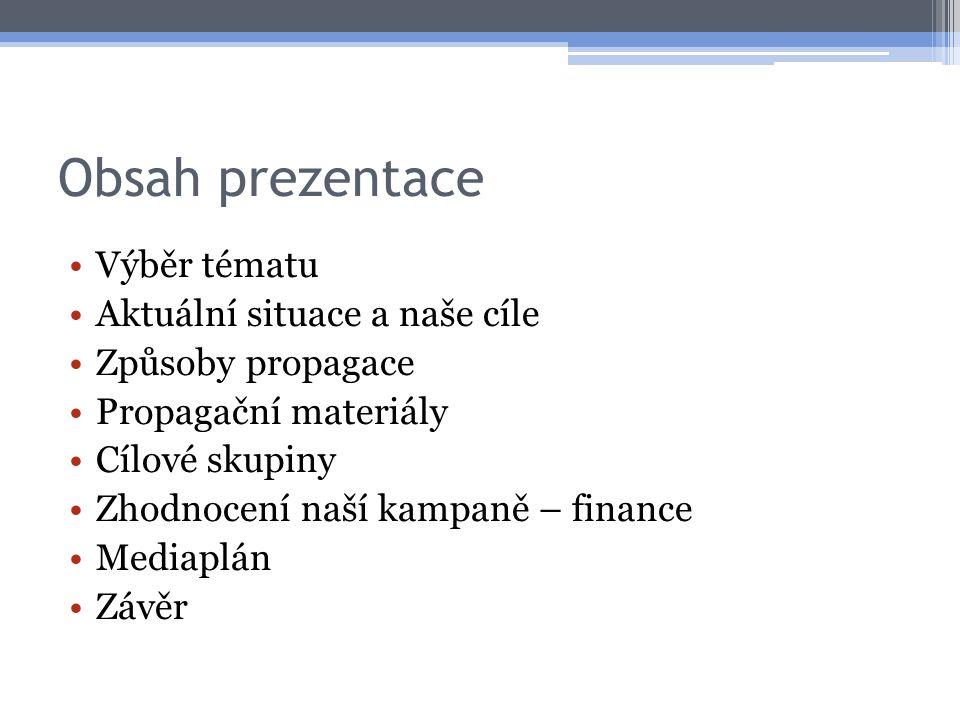 Obsah prezentace Výběr tématu Aktuální situace a naše cíle Způsoby propagace Propagační materiály Cílové skupiny Zhodnocení naší kampaně – finance Med
