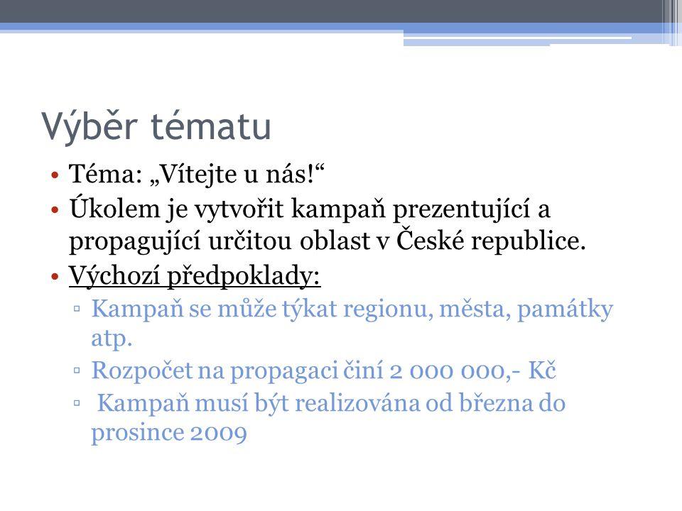 """Výběr tématu Téma: """"Vítejte u nás!"""" Úkolem je vytvořit kampaň prezentující a propagující určitou oblast v České republice. Výchozí předpoklady: ▫Kampa"""