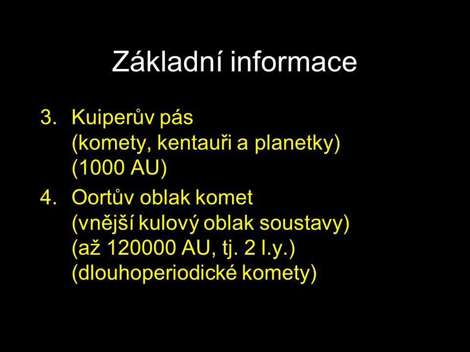 Základní informace 3.Kuiperův pás (komety, kentauři a planetky) (1000 AU) 4.Oortův oblak komet (vnější kulový oblak soustavy) (až 120000 AU, tj. 2 l.y