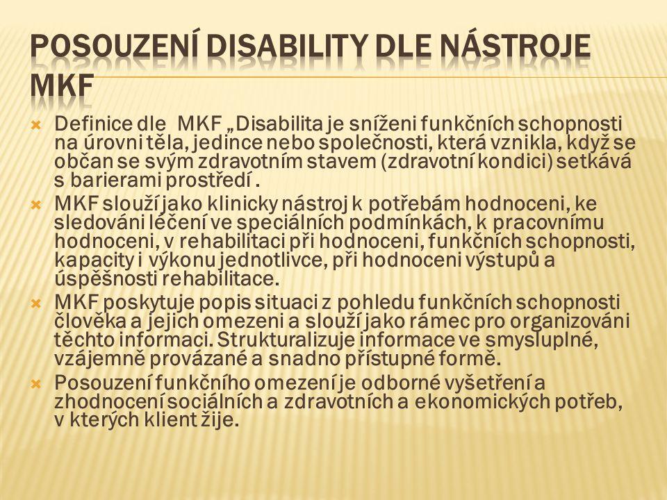 """ Definice dle MKF """"Disabilita je sníženi funkčních schopnosti na úrovni těla, jedince nebo společnosti, která vznikla, když se občan se svým zdravotn"""