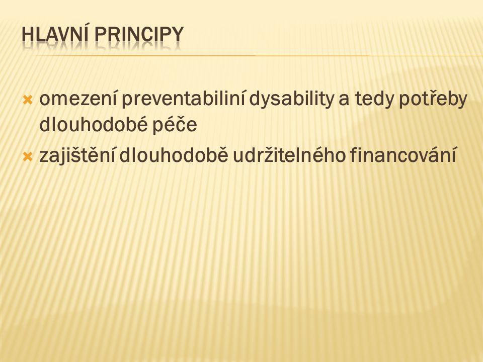  omezení preventabiliní dysability a tedy potřeby dlouhodobé péče  zajištění dlouhodobě udržitelného financování