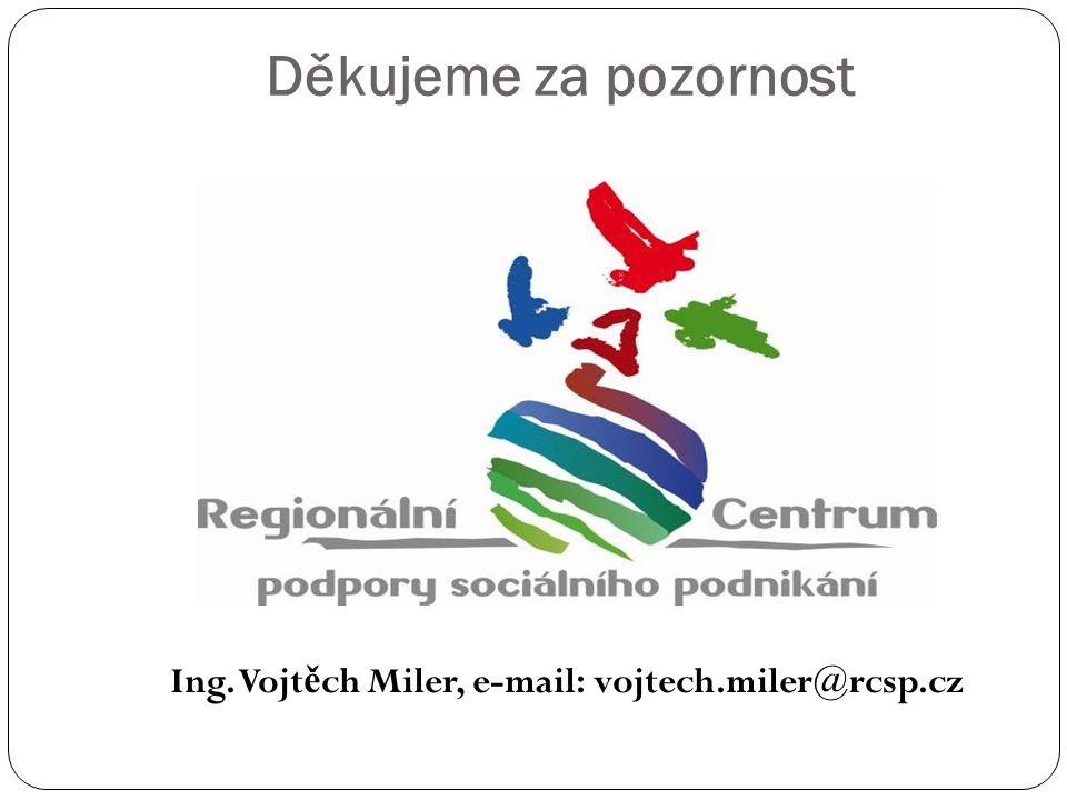 Děkujeme za pozornost Ing. Vojt ě ch Miler, e-mail: vojtech.miler@rcsp.cz
